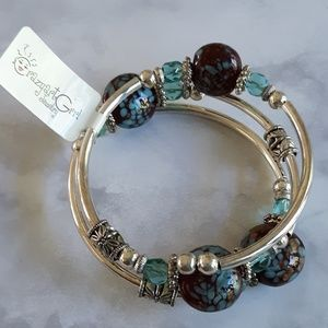 Crazy art girl glass bead wrap bracelet